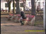 busty girl peeing in public