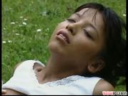 Cute petite brunette fucks in the grass