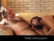 European hottie fucking old guy in the sauna cumshot swallow