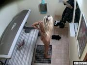 Blonde Beauty Secretly Fingering Pussy in Public Solarium