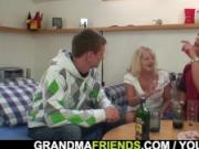 Two partying guys screw blonde granny