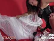 Femdom Strapon Jane has her filthy sissy bride bound and pegged for anal toying and handjob cumshot