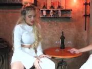 Fetisch-Concept.com - 2 girls with long cast legs in restaurant
