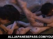 Yuu Konishi busty sucks dongs and is roughly fucked in forest