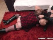 Femdom slut and her naughty t-girl and sissy sluts