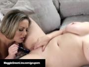 Lovely Legged Maggie Green Eats Pussy with Carmen Valentina!