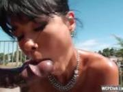 Big booty asian takes a BBC in her ass