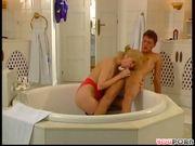 Mature German woman screwing in bathroom