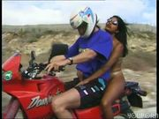 Motorcycle rider fucks a hitchhiker