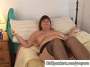 Beautiful busty MILF in stockings