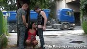 Cute TEEN girl in a STREET public threesome PART 1