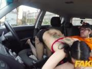 Fake Driving School Rough back seat fuck for petite infatuated learner