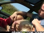 He picks up and nails granny outdoors