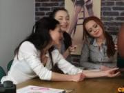 Casting CFNM female agent tugging black cock