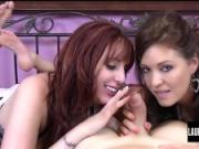 Slutty Redhead Lauren Phillips & Charlee Chase Blowjob Tag Team
