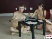 One guy and two girls play strip robot battle game