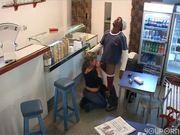Latina fucks black guy in the ice cream parlor - Latin-Hot