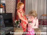 Strapon sissy gets it in the ass