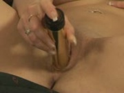 fucking her pussy with gold dildo