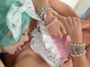 Cosplay Lesbians in Fishnet Pantyhose Cum Hard
