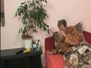 Blonde chick plays with mature couple