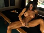 Hard bodied Angela dildos on pooltable she cums