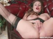 Natural big tits brunette Sophia Delane strips to nylons leather heels as bra panties off and wanks