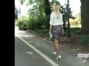 Beautiful blonde Stiletto Girl with great legs teasing her sexy white high heels fetish