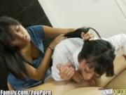 Asian Mom and Teen Daughter Cock Sucking Practice
