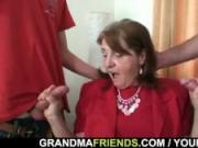 Threesome with old woman in the office