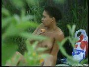 Naked Ebony Babe Spots a Peeping Tom
