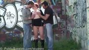 DARING risky PUBLIC THREESOME at a bus stop