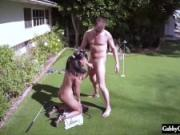 Cheating Latina Gabby Quinteros Caught Fucking Lawn Guy!