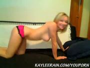 Kaylee Rain Stripping off Pink & Black Panties