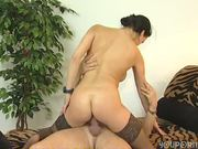 Brunette in stockings takes a dick - Inferno Productions