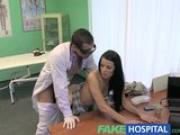 Fake Hospital Stiff neck followed by a big stiff cock as fucked on doctors desk