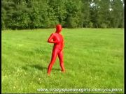 Outdoor in red spandex