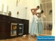Flexible girl dances and strips
