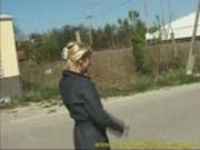 hot blonde peeing in park