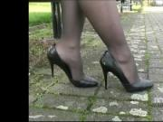 Blonde Iona is very tempting in her stylish high thin stiletto heels getting your fetish up stimulating your desires