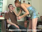Sensual feminization and strapon sex