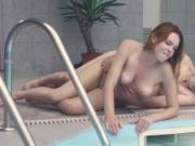 Cutie goes out of the pool to play with her pussy