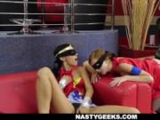 Superheroes Lesbians Cosplay Threesome