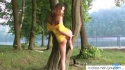Shy beauty outdoor pussy rub