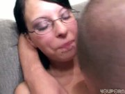 German girl in glasses gets fucked good by two guys