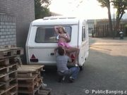 STREET SEX couple behing trailer. PART 1