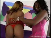 Ebony Lesbians Toying Each Others Pussy