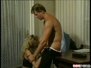 Cheesy office scene erupts into hot sex