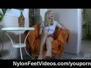 Cumming all over her nylon clad feet