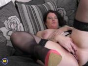 Curvy British housewife Dee Dee playing with her toys